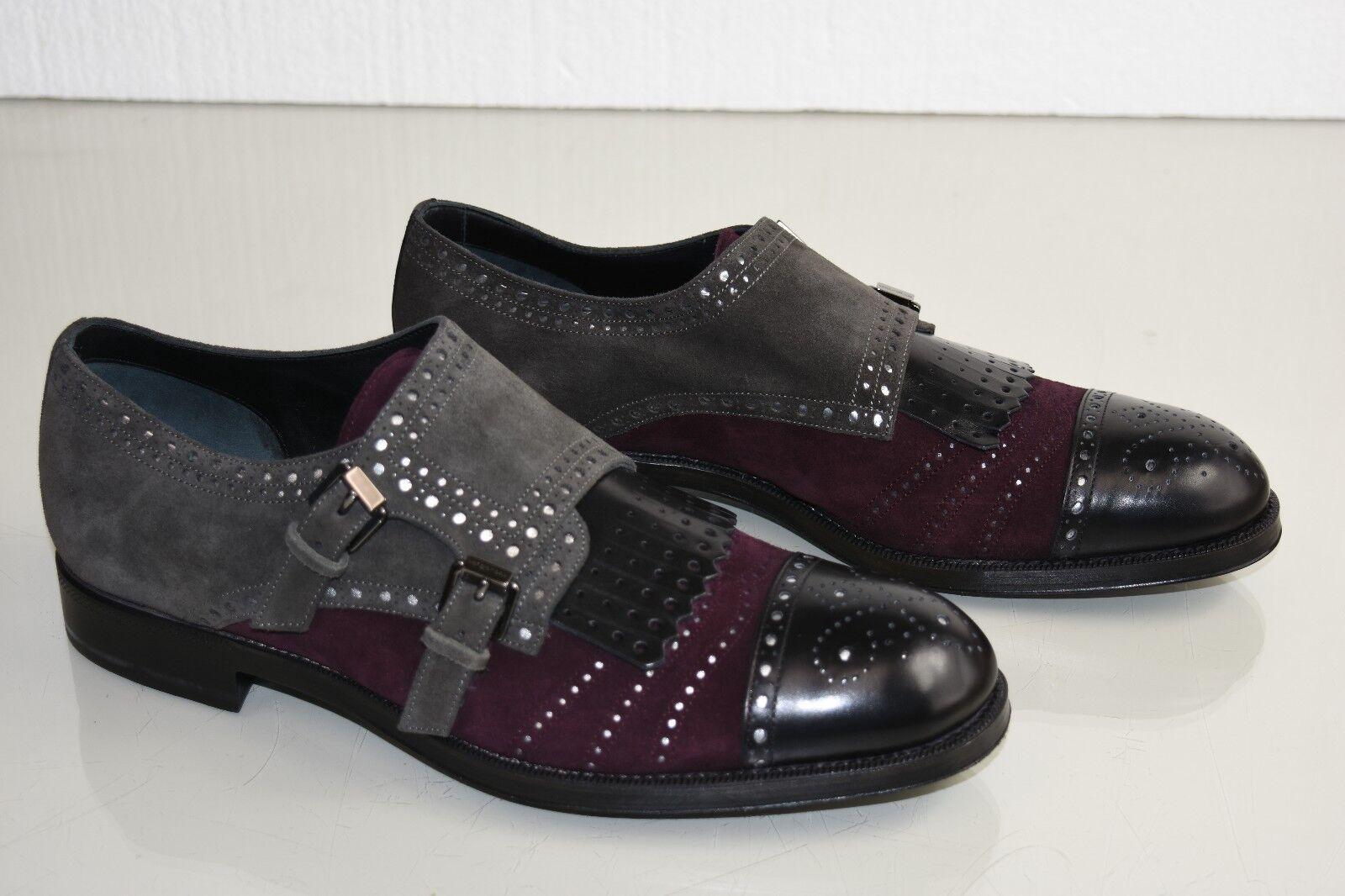 Nuevos Zapatos de ante perforado Sergio Rossi Cuero Negro gris Borgoña 10.5