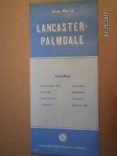 VINTAGE AAA ROAD MAP OF L;ANCASTER & PALMDALE CALIFORNIA  1980