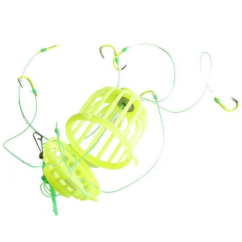 Angelkorb Futterkorb-Feeder Angelköder Futterspirale 7 Vorfach-Haken Montiert