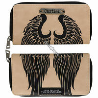 Supernatural Castiel Angel Wings Zip Around Wallet W/metal Badge Join The Hunt