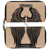 Supernatural Castiel Angel Wings Zip Around Wallet W/metal Badge Join The Hunt