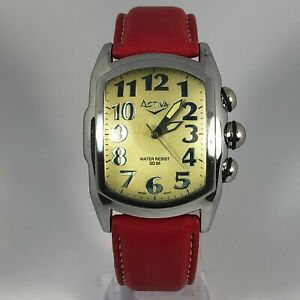 Activa-Mens-95494-Swiss-Quartz-Movement-Analog-Wristwatch-Red-Leather-Strap