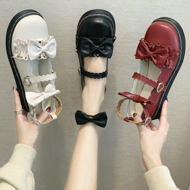 Damen Mädchen Lolita Schuhe Sandalen Kunstleder Bowknot Niedrig Absatz Süß Kawai