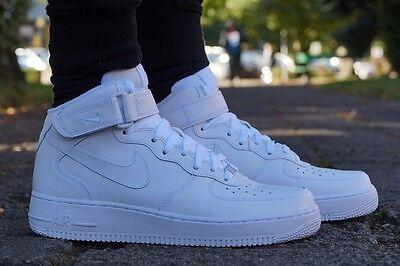 Nike Air Force 1 Medio Zapatos Zapatillas de Deporte High Top Blanco 315123 111 | eBay