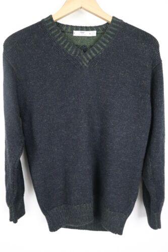 Inis Meain Mens sz Medium Blue Knit V Neck Sweater