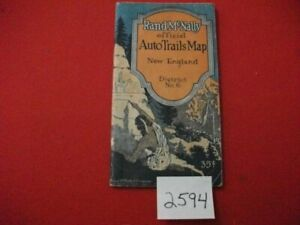 1922-RAND-McNALLY-OFFICIAL-AUTO-TRAILS-MAP-NEW-ENGLAND-DISTRICT-No-9-COLLECTIBLE