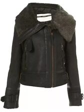 Topshop Genuine Sheepskin Leather Shearling Aviator Biker Jacket Coat 16 12 44 L
