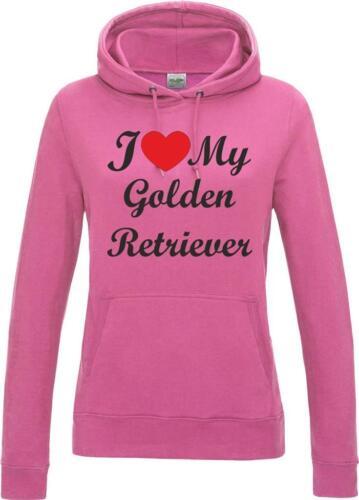 I Love My Golden Retriever Dog Womens Ladies Hoody Hoodie Hooded Sweatshirt Gift