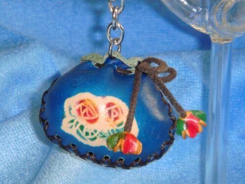 2 Pieces,Blue a Pair Set Genuine Leather Mini Purse Shape Key-chain//bag-charm