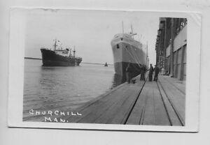 Vintage-Churchill-Manitoba-Canada-Docks-Steamshipos-Real-Photo-RPPC-Shipyard