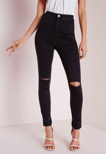 WOMENS HIGH WAISTED RIPPED KNEE SKINNY FIT JEANS LADIES TUBE JEGGINGS UK 6-22