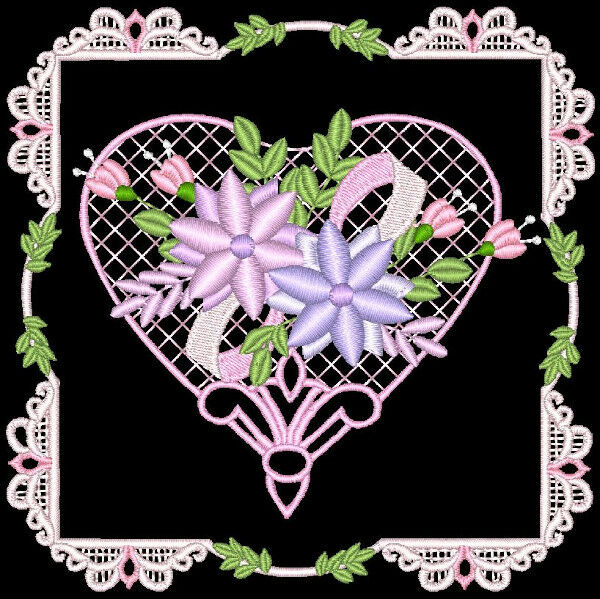 LOVE, HEARTS AND FLOWERS - 24 MACHINE EMBROIDERY DESIGNS (AZEB)