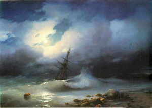 Perfect-oil-painting-Ivan-Constantinovich-Aivazovsky-Rough-sea-at-night-canvas