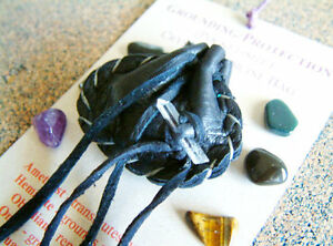 GROUNDING & PROTECTION CRYSTAL MEDICINE BAG Pocket Size Deer Pouch + Reiki Gems