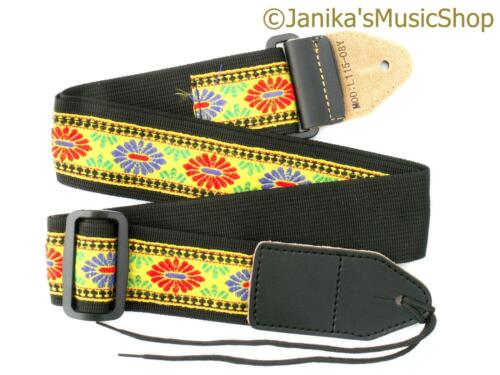 Yellow folk guitar strap for electric or acoustic guitar 115NB