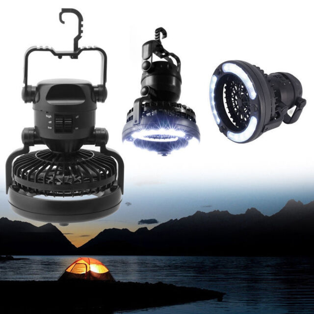 2 In1 Image Portable Led Camping Lantern With Ceiling Fan 18 Led