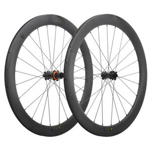 700C Disc Brake Wheelset 55mm Front+Rear Carbon Wheels Road Bicycle MATT NO disc