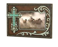 Montana West Silver Turquoise Stone Cross Resin Photo Frame