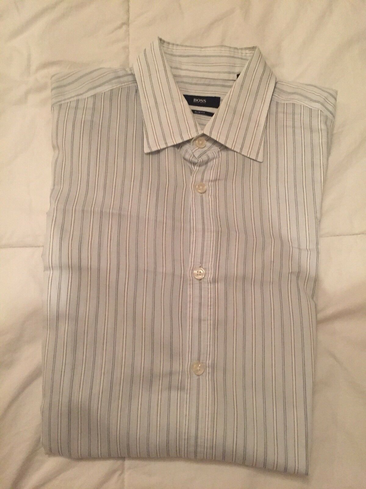 Men's BOSS HUGO BOSS Light bluee Stripe Shirt Slim Fit Size L -