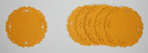 Farben GESTANZT mit MUSTER  rund 12 cm Durchmesser 6 FILZ UNTERSETZER versch