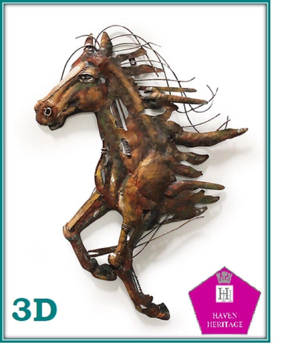 3D LARGE METAL WALL ART METAL WALL SCULPTURE Abstract Horse D1B