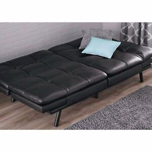 Leather Sleeper Sofa Couch Loveseat Black Futon Convertible Chair ...