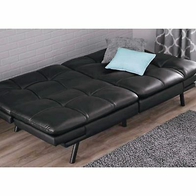 Leather Sleeper Sofa Couch Loveseat Black Futon Convertible Chair Sectional  Bed 801349438475 | EBay