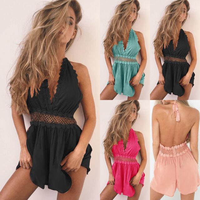 UK Hot Womens Holiday Mini Dress Playsuit Ladies Summer Casual Beach Sundress