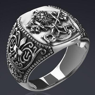Silber 925 Vergoldet 999 Schutzring Heilige Georg Russische Herrenring RING
