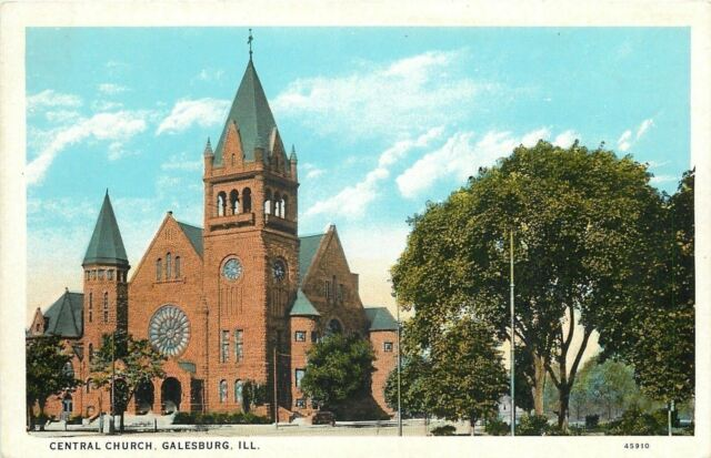 Galesburg IL~Central Church~Round Stained Glass Window~Neighbor's Trees 1920s