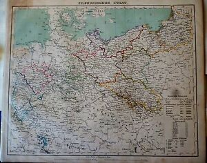 Prussia, Poland, Bohemia and Moravia, Bavaria, large map by Flemming, 1880`s