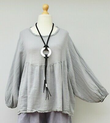 """LAGENLOOK LINEN//COTTON+LACE RELAXED BATWING TUNIC//TOP*PALE PINK*BUST UP TO 54/"""""""