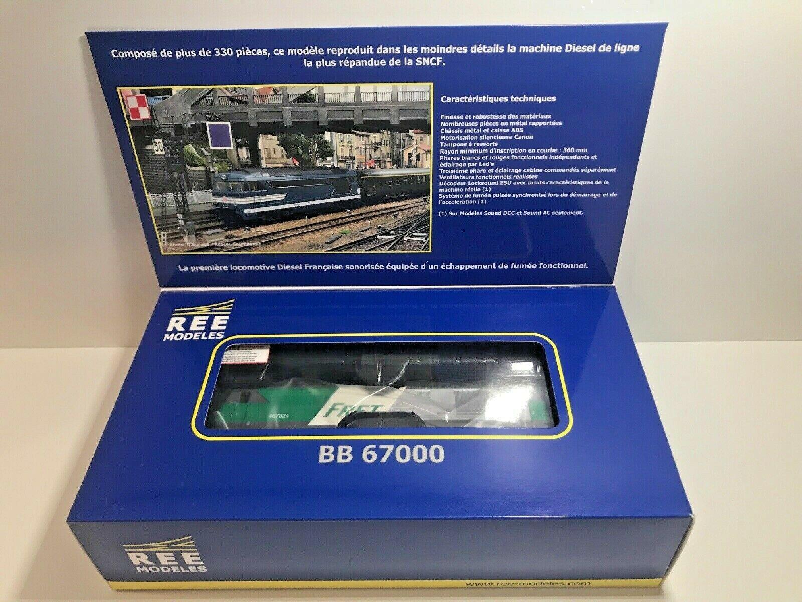 REE MB019S  Locomotive diésel BB67300 'Fret' ep.V SNCF 467324 Rennes DCCsuono