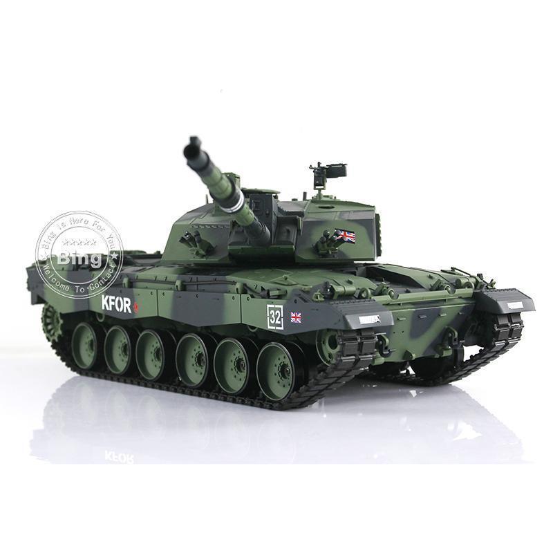 Henglong 1 16 Scale Camo Green Plastic UK Challenger II RTR RC Tank Model 3908