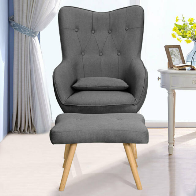 Fine Upholstered Fabric Wingback Tufted Armchair Cocktail Chair With Footstool Seat Theyellowbook Wood Chair Design Ideas Theyellowbookinfo
