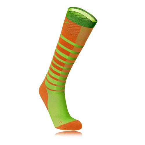 2XU Herren Striped Run Kompression Socken Laufsocken Sportsocken Grün Orange