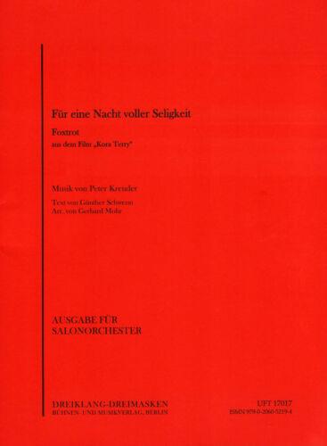 Für eine Nacht voller Seligkeit Noten Combo Salonorchester Gerhard Mohr Arr.