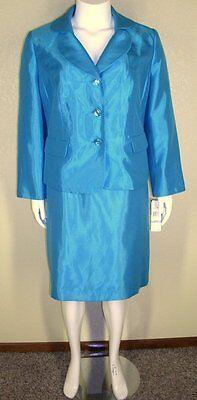 Le Suit Woman NWT Plus Size 22W Shiny Blue Jacket Blazer Skirt Suit $240 7022