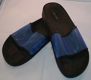Speedo-Chanclas-Azul-Negro-Speedo-Deporte-Sandalias-Talla-9-Sin-Cordones-Desliza