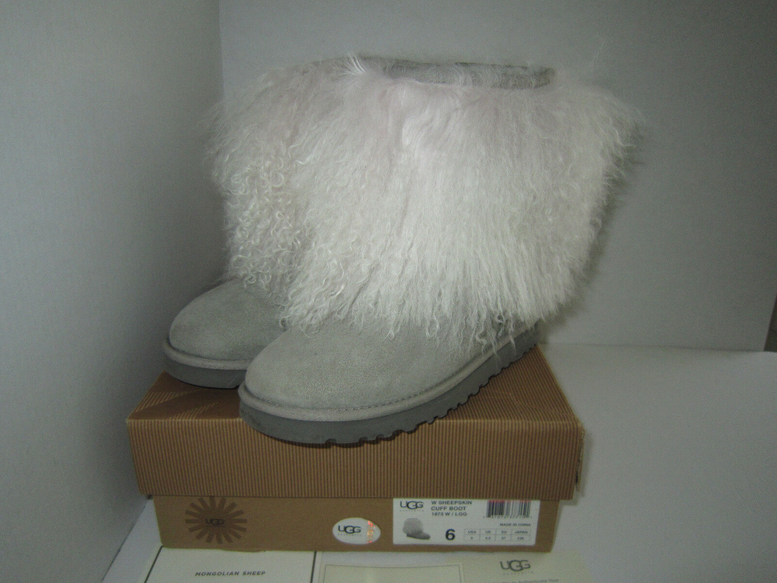 Ugg Australia Sheepskin Mongolian Hair Short Cuff boots Women's Grey  Sz 6