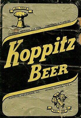 """KOPPITZ VICTORY BEER LABEL 9/"""" x 12/"""" SIGN"""