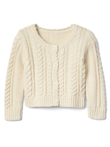 Baby Gap Girls Long Sleeve Crew Button Cable Knit Cardigan Sweater Layering NWT