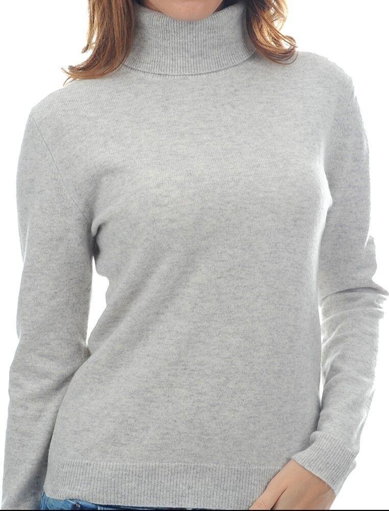 Balldiri 100% Cashmere Damen Pullover Rollkragen mit Bündchen hellgrau XL