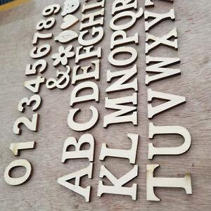 INDIVIDUAL WOODEN LETTERS ALPHABET NUMBERS PLAIN WALL ART DECORATION ALPHABET