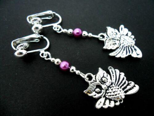 Un Par De Plata Tibetana Dangly Owl /& Purple Bead Clip en pendientes Nuevo.