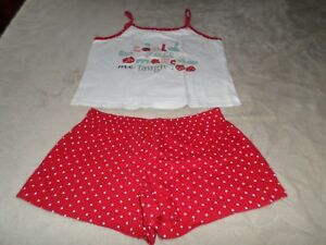Pyjama-D-039-ete-fille-6-8-ANS-rouge-blanc-Marque-B-unity-Excellent-etat
