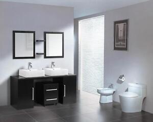 Mobile bagno arredo bagno completo wenge 160cm doppio lavabo