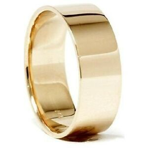 Mens Womens Solid 14k Yellow Gold Plain Flat Wedding Band