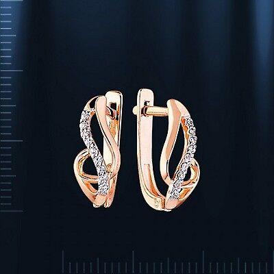 Pflichtbewusst Russische Ohrringe Rose Rotgold 585 14k Mit Cz 2.02g Neu Glänzend Розовое золото SchöN In Farbe