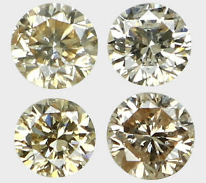 Natural-Loose-Diamond-Round-SI1-Clarity-Brown-Color-4-Pcs-0-15-Ct-L6071